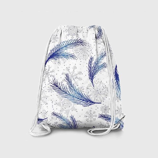 Рюкзак «Елочные ветки и снежинки»