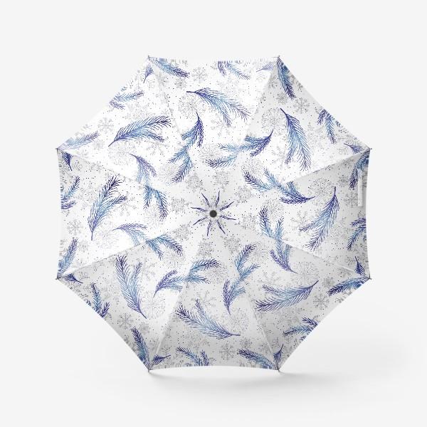 Зонт «Елочные ветки и снежинки»