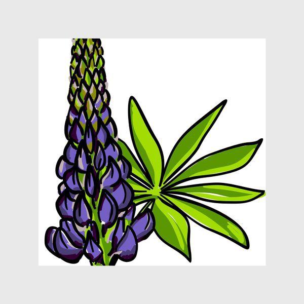 Шторы «Цветок люпин с листьями. Синий бутон люпина»
