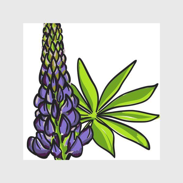 Скатерть «Цветок люпин с листьями. Синий бутон люпина»