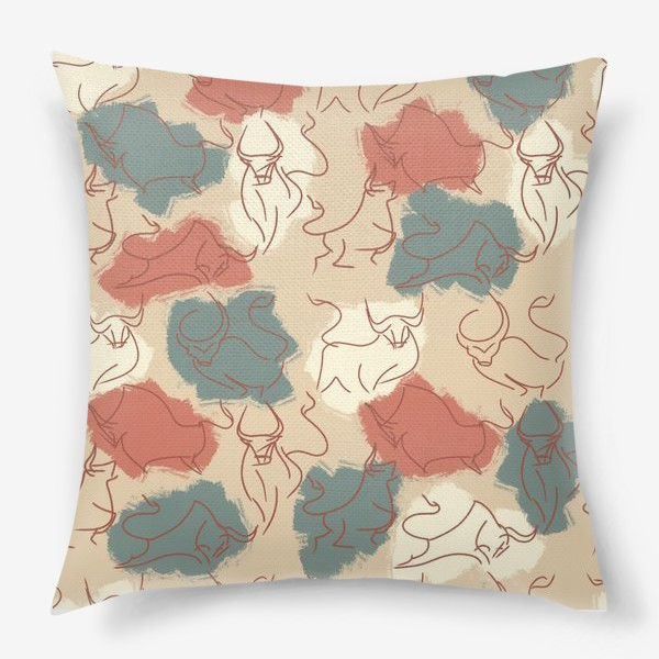 Подушка «Паттерн быки на пастельном фоне»