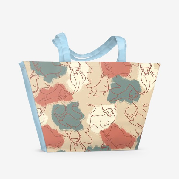 Пляжная сумка «Паттерн быки на пастельном фоне»
