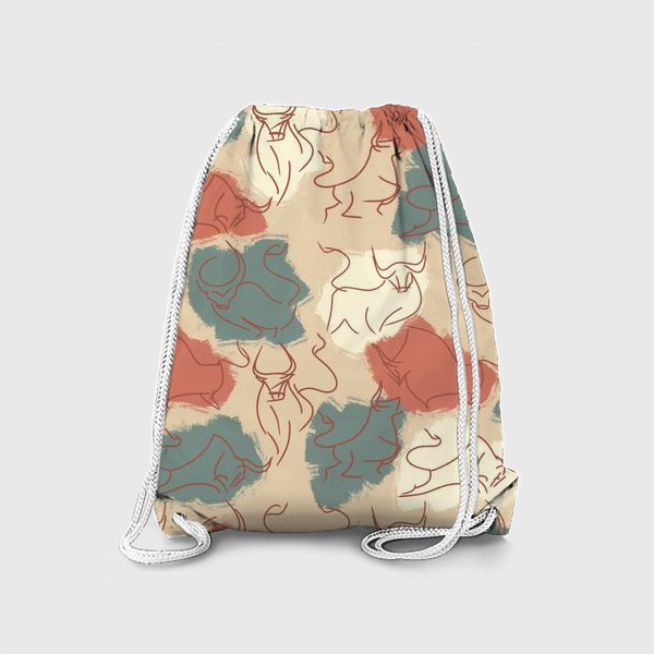 Рюкзак «Паттерн быки на пастельном фоне»