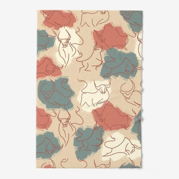 Полотенце «Паттерн быки на пастельном фоне»