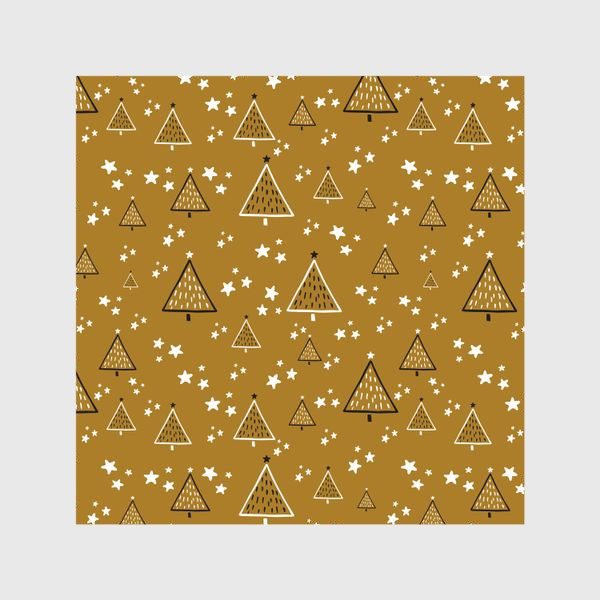 Шторы «Новый год, ёлки на золотом фоне»