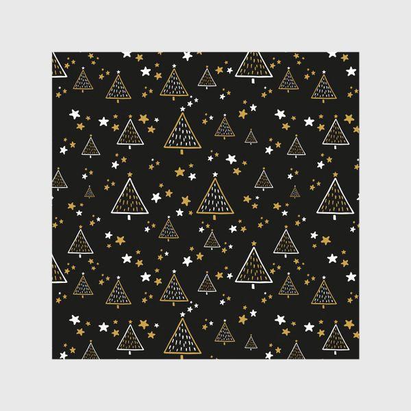 Шторы «Новогодний паттерн, елки и звезды на черном фоне»