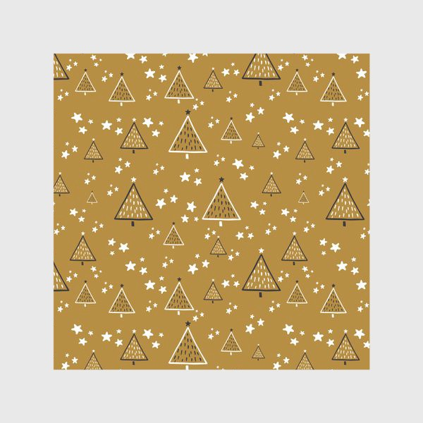 Скатерть «Новый год, ёлки на золотом фоне»