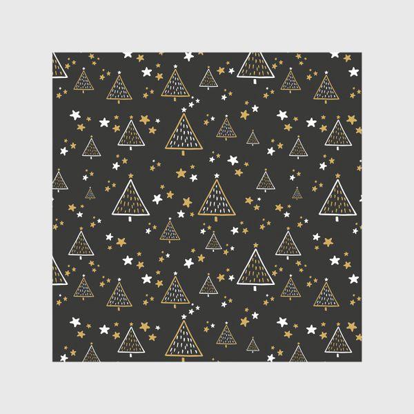 Скатерть «Новогодний паттерн, елки и звезды на черном фоне»