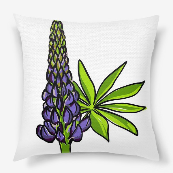 Подушка «Цветок люпин с листьями. Синий бутон люпина»
