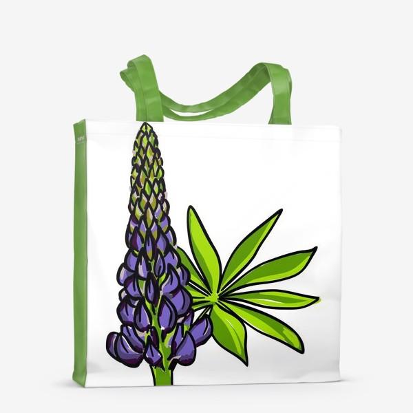 Сумка-шоппер «Цветок люпин с листьями. Синий бутон люпина»