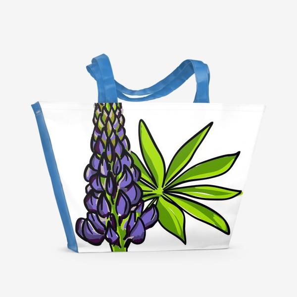 Пляжная сумка «Цветок люпин с листьями. Синий бутон люпина»