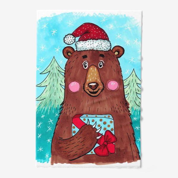 Полотенце «Милый новогодний мишка с подарком»