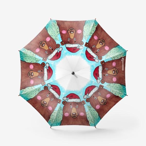 Зонт «Милый новогодний мишка с подарком»