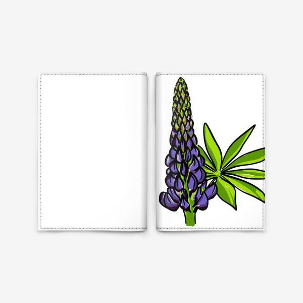 Обложка для паспорта «Цветок люпин с листьями. Синий бутон люпина»