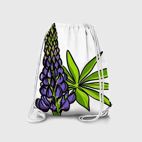 Рюкзак «Цветок люпин с листьями. Синий бутон люпина»