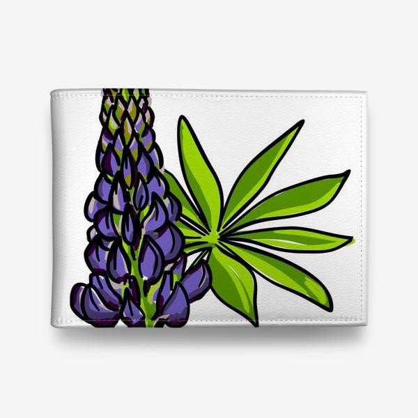 Кошелек «Цветок люпин с листьями. Синий бутон люпина»