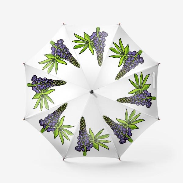 Зонт «Цветок люпин с листьями. Синий бутон люпина»