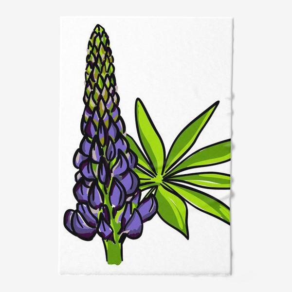 Полотенце «Цветок люпин с листьями. Синий бутон люпина»