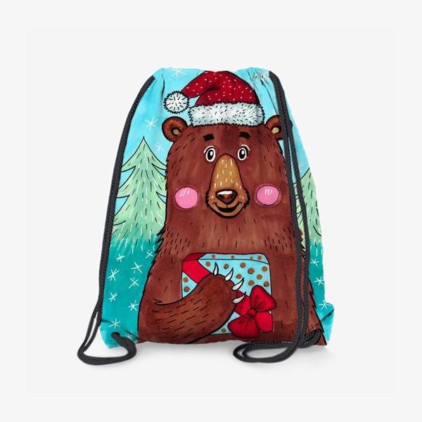 Рюкзак «Милый новогодний мишка с подарком»