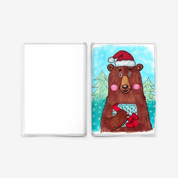 Обложка для паспорта «Милый новогодний мишка с подарком»
