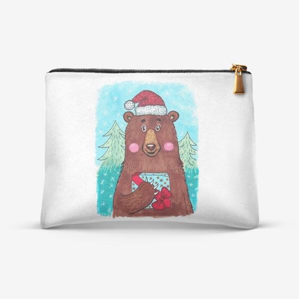 Косметичка «Милый новогодний мишка с подарком»