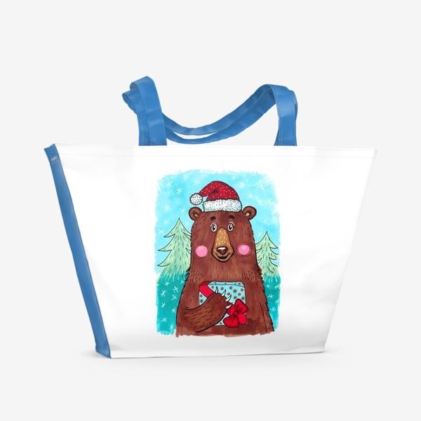 Пляжная сумка «Милый новогодний мишка с подарком»