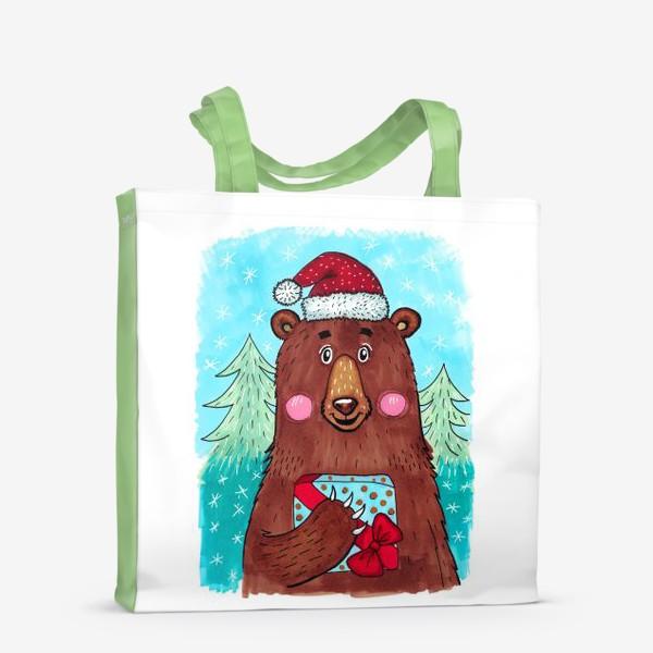 Сумка-шоппер «Милый новогодний мишка с подарком»