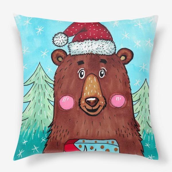Подушка «Милый новогодний мишка с подарком»