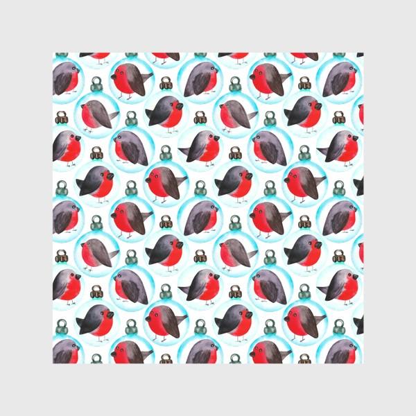 Скатерть «Паттерн ёлочные шары со снегирями»
