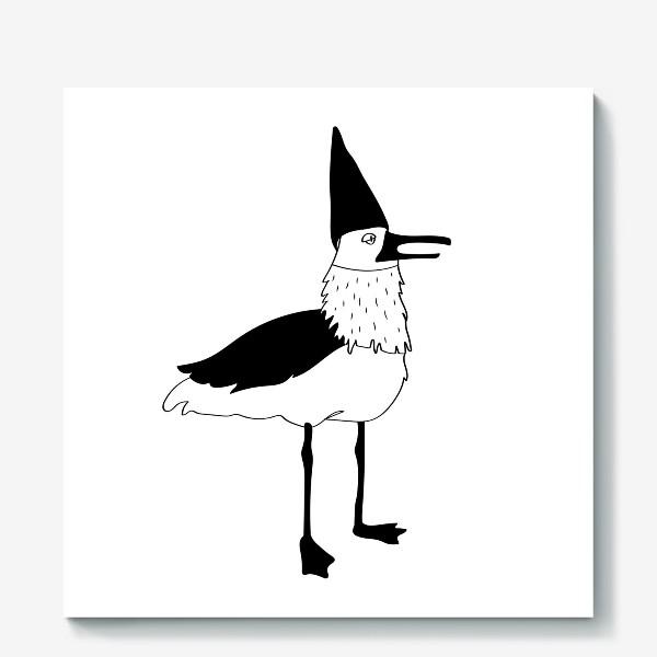 Холст «Чайка в колпаке на белом фоне. Черно-белая.»