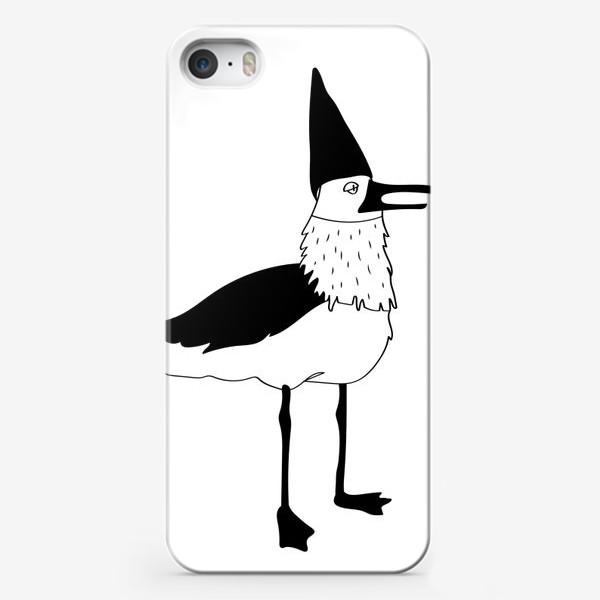 Чехол iPhone «Чайка в колпаке на белом фоне. Черно-белая.»