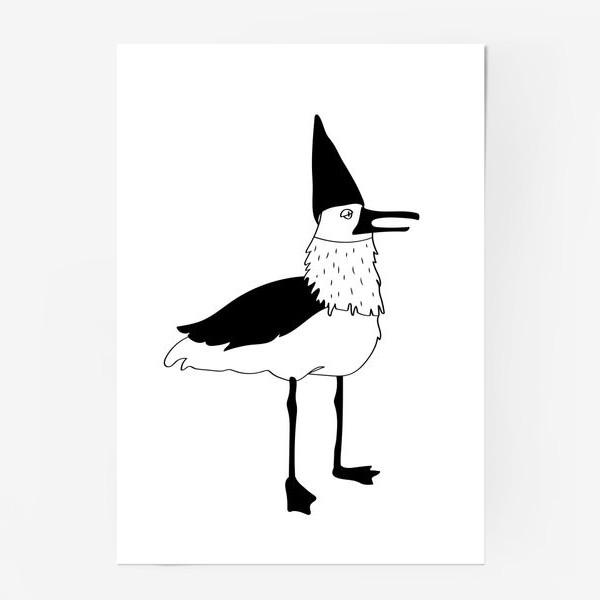 Постер «Чайка в колпаке на белом фоне. Черно-белая.»