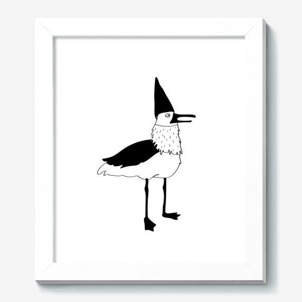 Картина «Чайка в колпаке на белом фоне. Черно-белая.»