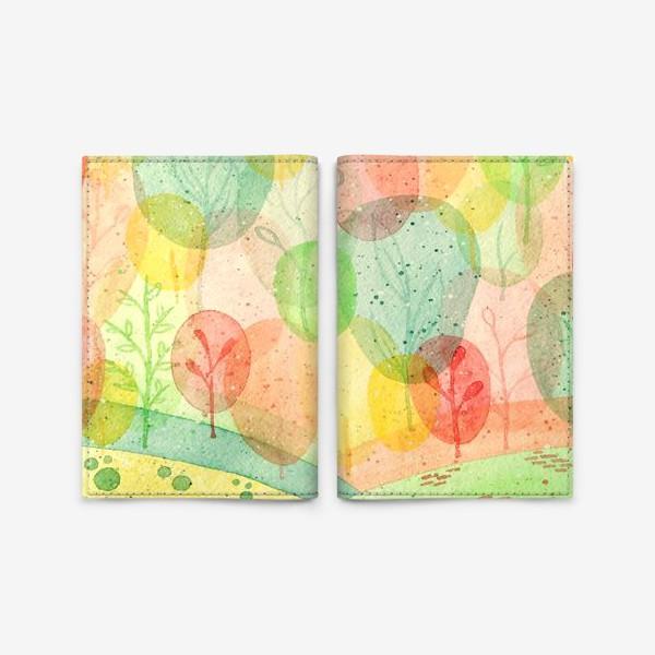 Обложка для паспорта «Осенний лес. Акварель.»