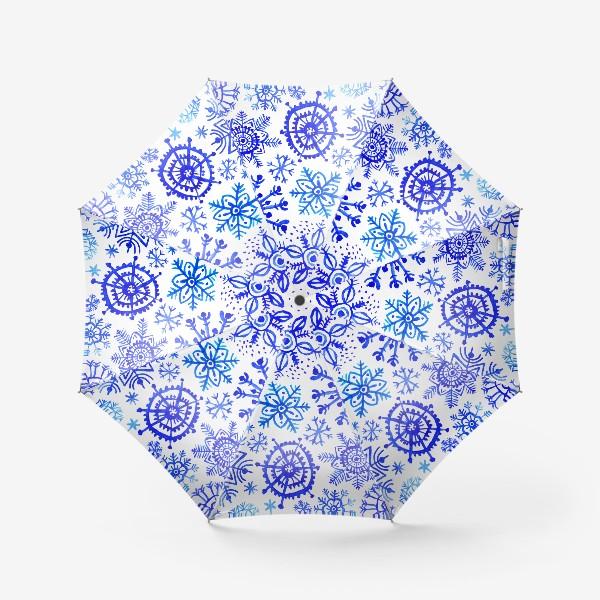 Зонт «Снежинки гжель»