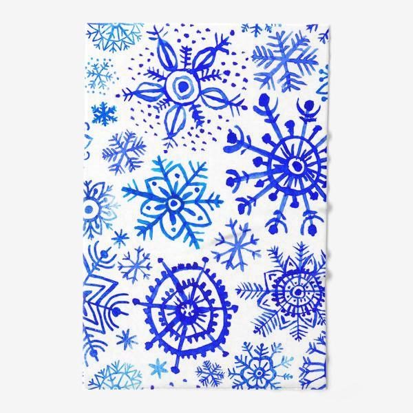 Полотенце «Снежинки гжель»