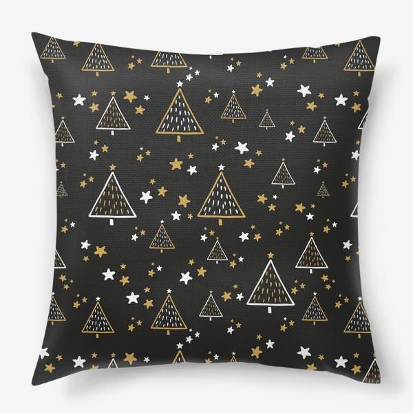 Подушка «Новогодний паттерн, елки и звезды на черном фоне»