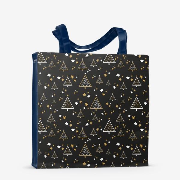 Сумка-шоппер «Новогодний паттерн, елки и звезды на черном фоне»