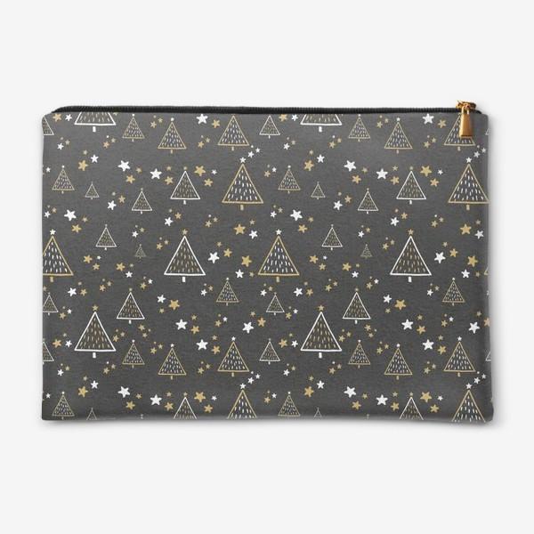 Косметичка «Новогодний паттерн, елки и звезды на черном фоне»