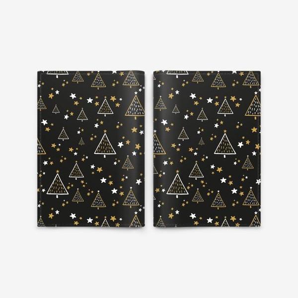 Обложка для паспорта «Новогодний паттерн, елки и звезды на черном фоне»