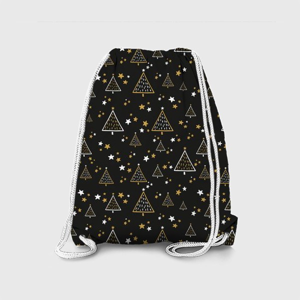 Рюкзак «Новогодний паттерн, елки и звезды на черном фоне»