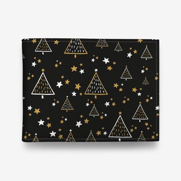 Кошелек «Новогодний паттерн, елки и звезды на черном фоне»