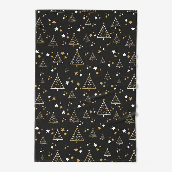 Полотенце «Новогодний паттерн, елки и звезды на черном фоне»