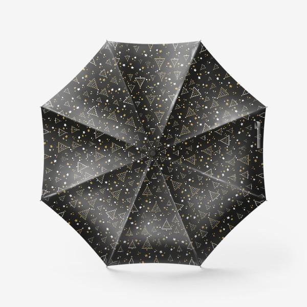 Зонт «Новогодний паттерн, елки и звезды на черном фоне»