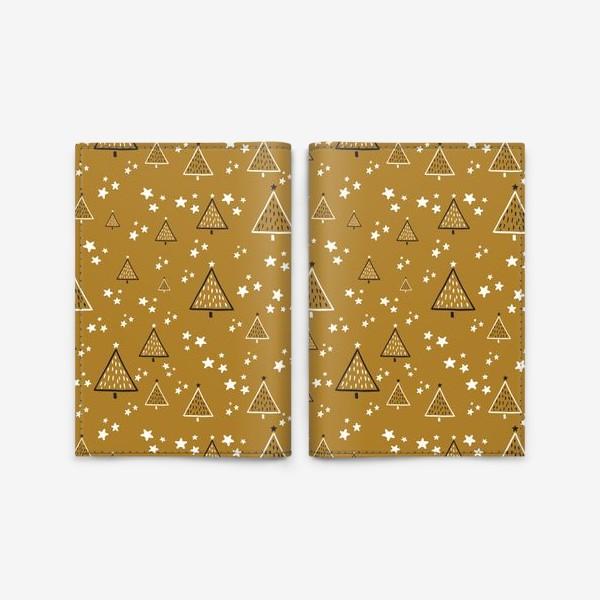 Обложка для паспорта «Новый год, ёлки на золотом фоне»