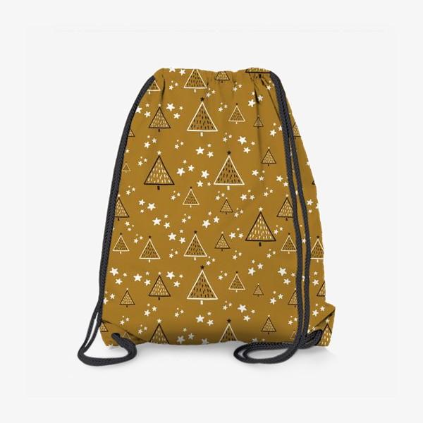 Рюкзак «Новый год, ёлки на золотом фоне»