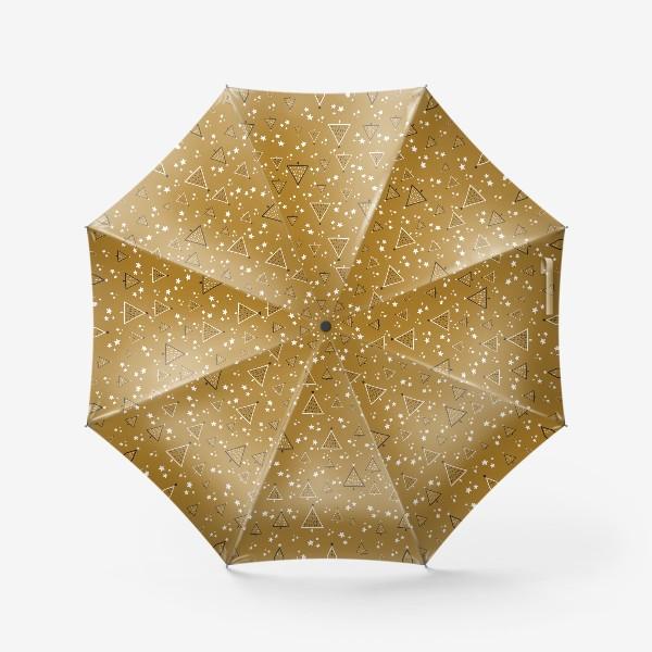 Зонт «Новый год, ёлки на золотом фоне»