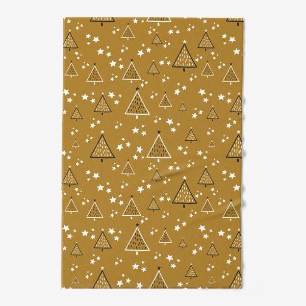 Полотенце «Новый год, ёлки на золотом фоне»
