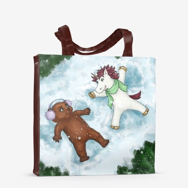 Сумка-шоппер «Единорог и медвежонок делают снежных ангелов»