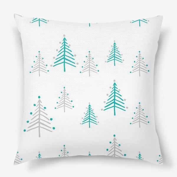 Подушка «Новогодний паттерн, минималистичные ёлочки»